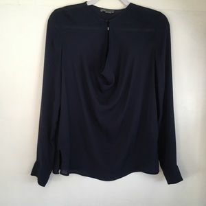 Vince Coastal Blue Silk Crepe Long Sleeve Blouse 4